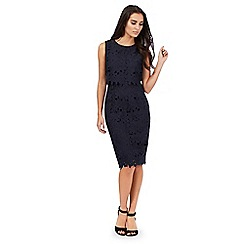 Betty Jackson.Black - Navy lace layered waist dress