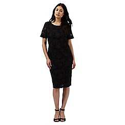 Betty Jackson.Black - Black mesh floral applique dress