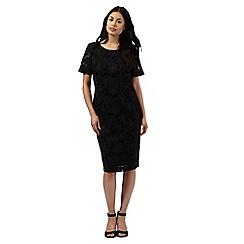 Betty Jackson.Black - Black mesh floral applique dress