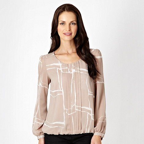 Betty Jackson.Black - Taupe square patterned blouse