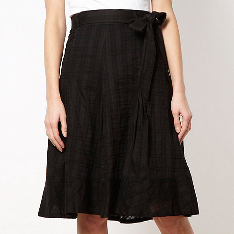 Betty Jackson.Black - Designer black textured checked skirt