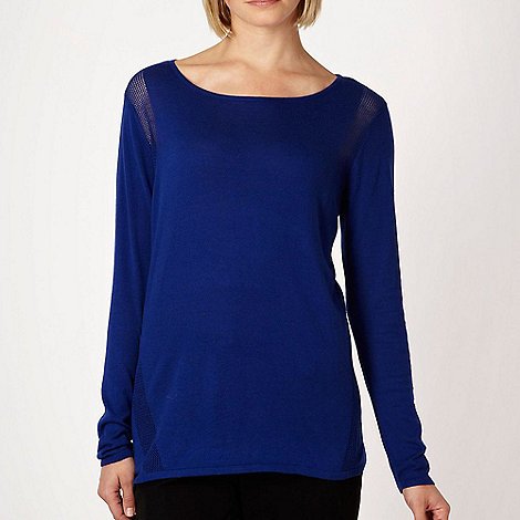 Betty Jackson.Black - Blue crocheted insert jumper