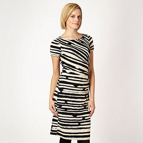 Betty Jackson.Black - Designer black brush stroke striped jersey dress