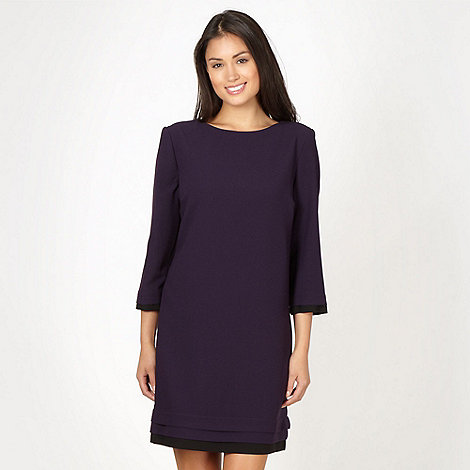Betty Jackson.Black - Designer dark purple crepe tunic cocktail dress