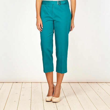Betty Jackson.Black - Designer dark green pique cropped trousers