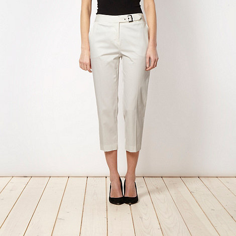 Betty Jackson.Black - Designer white cropped pique trousers