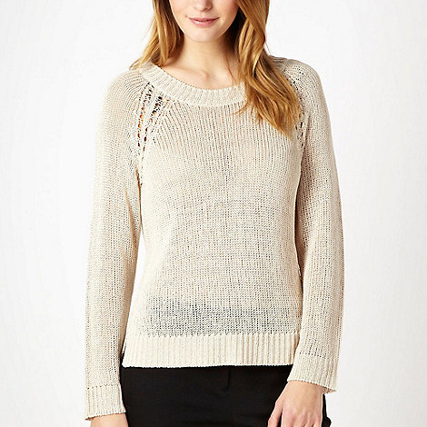 Betty Jackson.Black - Natural metallic cord knitted jumper