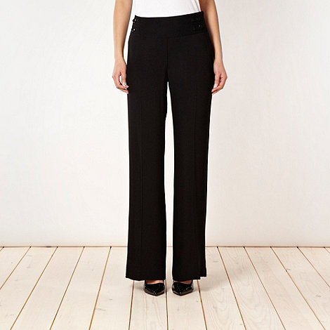Betty Jackson.Black - Designer black crepe palazzo trousers