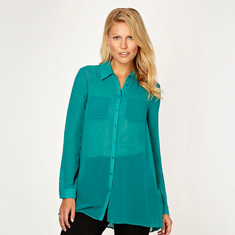 Betty Jackson.Black - Designer dark green pleat back shirt