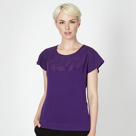Betty Jackson.Black - Designer purple applique top