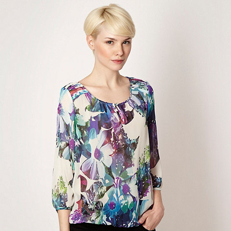 Betty Jackson.Black - Designer white sheer tropical floral blouse