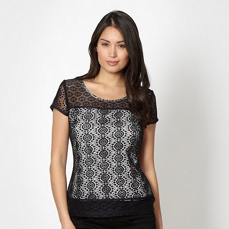 Betty Jackson.Black - Designer navy mosaic lace top