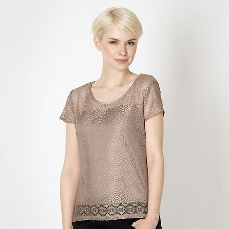 Betty Jackson.Black - Designer brown mosaic lace top