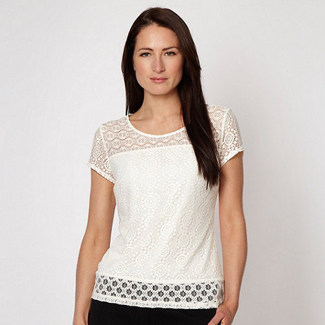 Betty Jackson.Black - Designer cream mosaic lace top