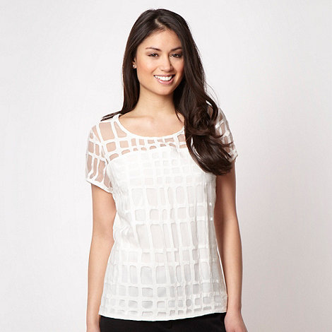 Betty Jackson.Black - Designer white geometric burnout top