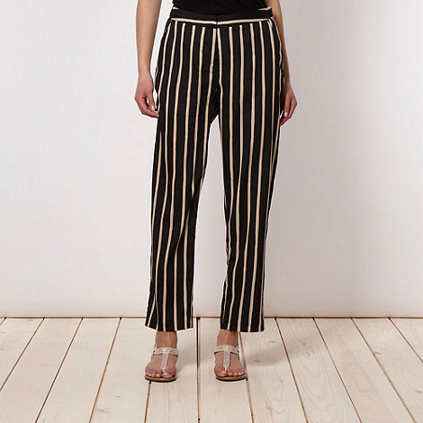 Betty Jackson.Black - Designer black striped woven trousers