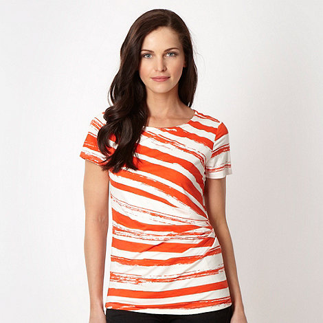 Betty Jackson.Black - Designer dark orange broken striped top