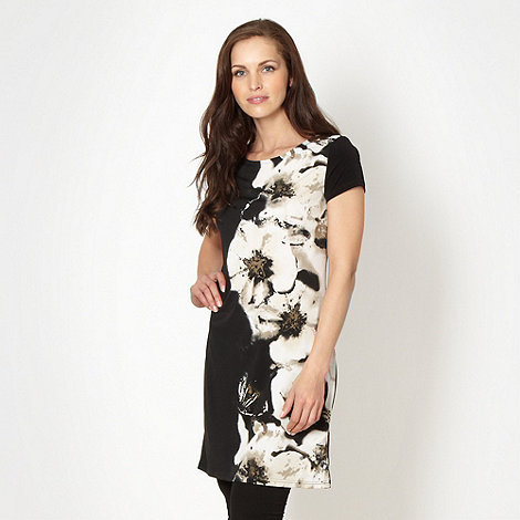 Betty Jackson.Black - Designer black shadow floral tunic top