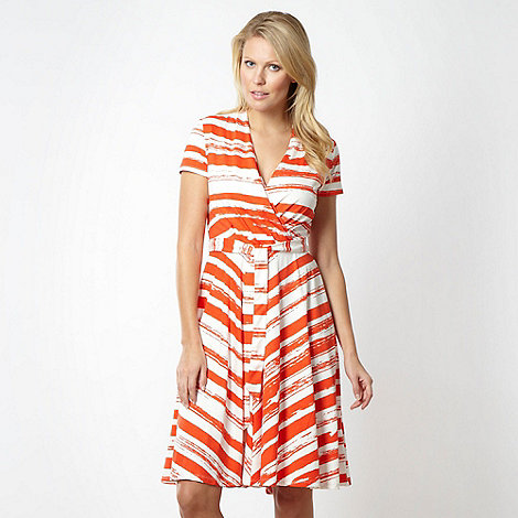Betty Jackson.Black - Designer orange broken stripe cocktail dress