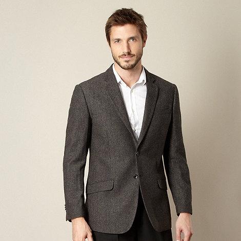 Jeff Banks - Big and tall designer brown herringbone blazer jacket