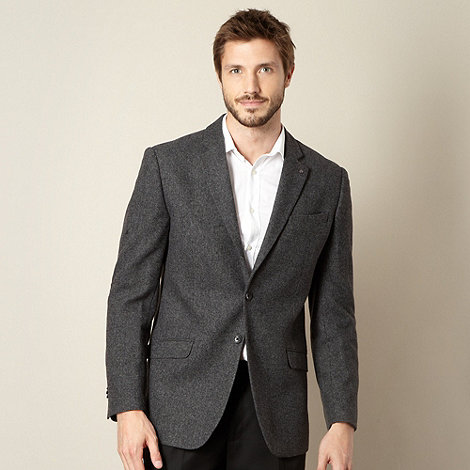 Jeff Banks - Big and tall dark grey donegal blazer jacket