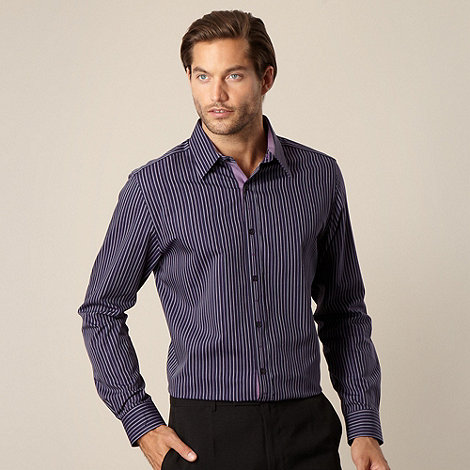 Jeff Banks - Big and tall designer purple textured striped shirt