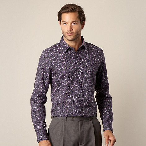 Jeff Banks - Designer navy ditsy floral shirt
