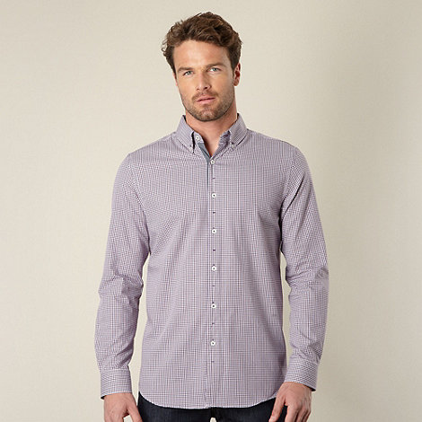Jeff Banks - Big and tall designer purple mini gingham checked shirt