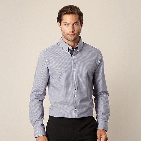 Jeff Banks - Designer navy gingham checked shirt