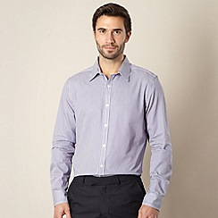 Jeff Banks - Big and tall designer purple fine stripe floral shirt