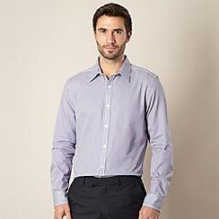 Jeff Banks - Big and tall designer purple fine stripe floral shirt