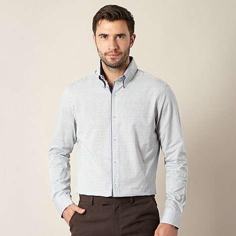 Jeff Banks - Designer white diamond patterned double collar shirt