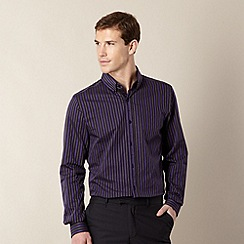 Jeff Banks - Big and tall designer purple striped long sleeved shirt
