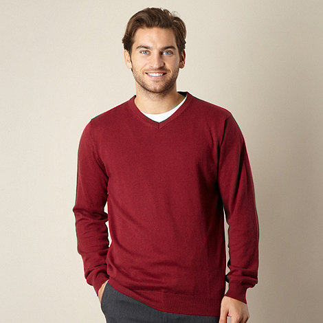 Jeff Banks - Big and tall cotton cashmere wine v neck jumper