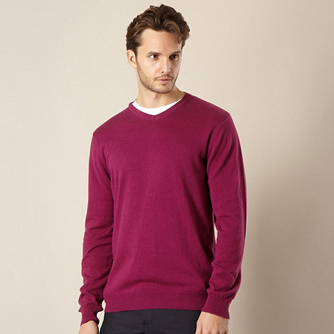 Jeff Banks - Cotton cashmere dark pink V neck jumper