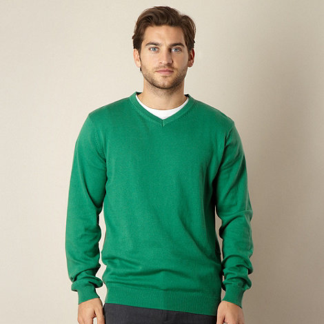 Jeff Banks - Big and tall cotton cashmere green v neck jumper