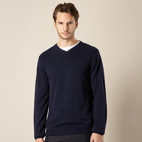 Jeff Banks - Cotton cashmere navy V neck jumper