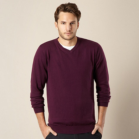 Jeff Banks - Cotton cashmere purple V neck jumper