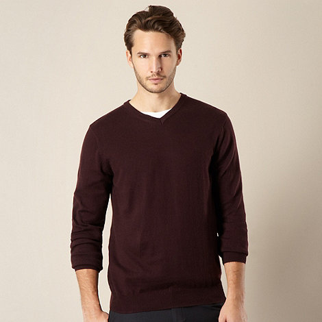Jeff Banks - Cotton cashmere plum V neck jumper