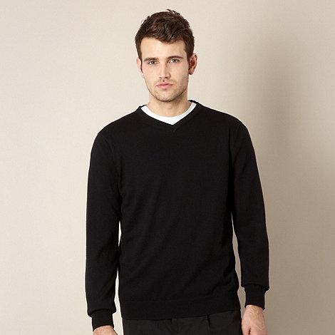 Jeff Banks - Big and tall cotton cashmere black v neck jumper