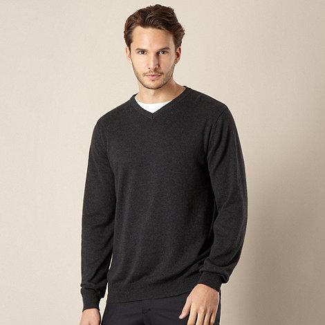 Jeff Banks - Cotton cashmere dark grey V neck jumper