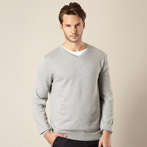 Jeff Banks - Cotton cashmere grey V neck jumper