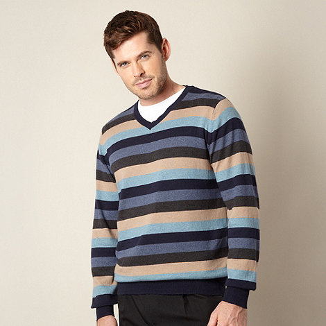 Jeff Banks - Blue block strip cotton cashmere Vneck jumper