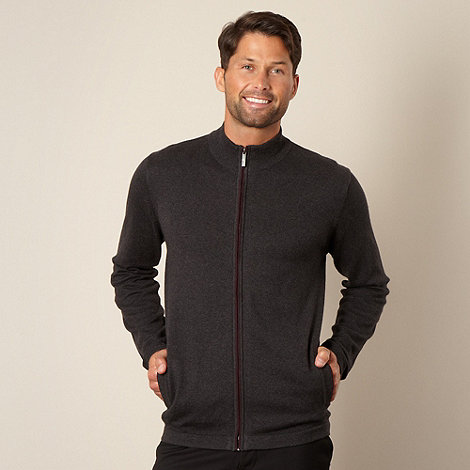 Jeff Banks - Dark grey cotton cashmere zip through knit