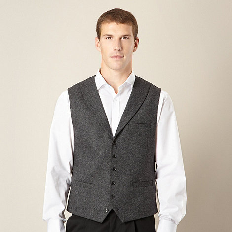Jeff Banks - Big and tall designer dark grey donegal waistcoat