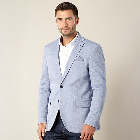Jeff Banks - Big and tall designer light blue linen blend oxford blazer