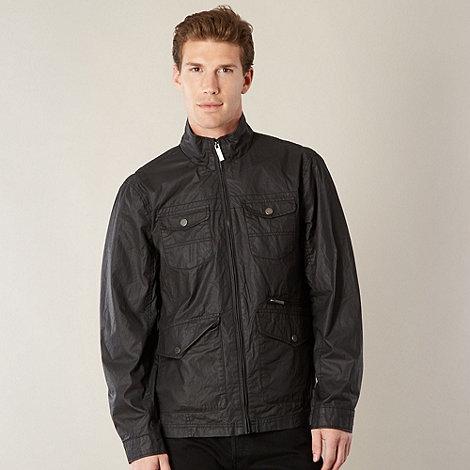Jeff Banks - Big and tall designer dark grey multi pocket harrington jacket