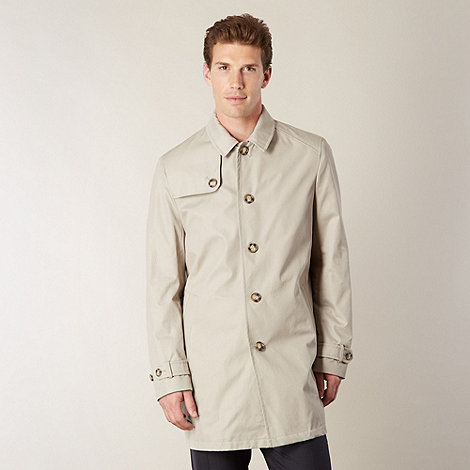 Jeff Banks - Big and tall designer natural single breasted mac coat