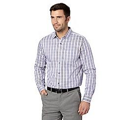 Jeff Banks - Big and tall designer purple checked shirt