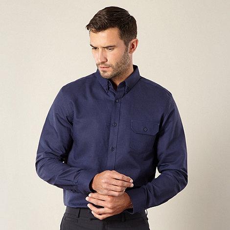 Jeff Banks - Big and tall designer navy linen blend shirt